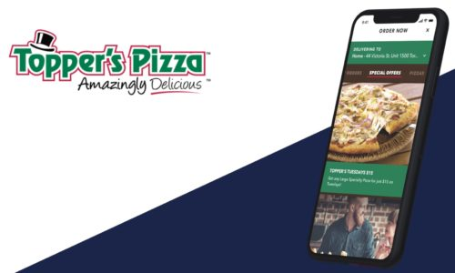 Topper's Pizza logo and mobile app