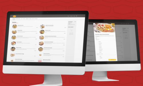Two computers showing Denny's web ordering